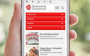 Smartphone-Ansicht Startseite der Website der Stadtwerke Osnabrück